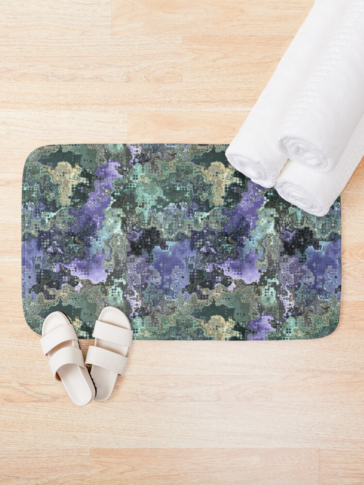 Alternate view of Purple Gold Green Abstract Pattern Bath Mat
