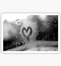 heart on window (blackandwhite) Sticker
