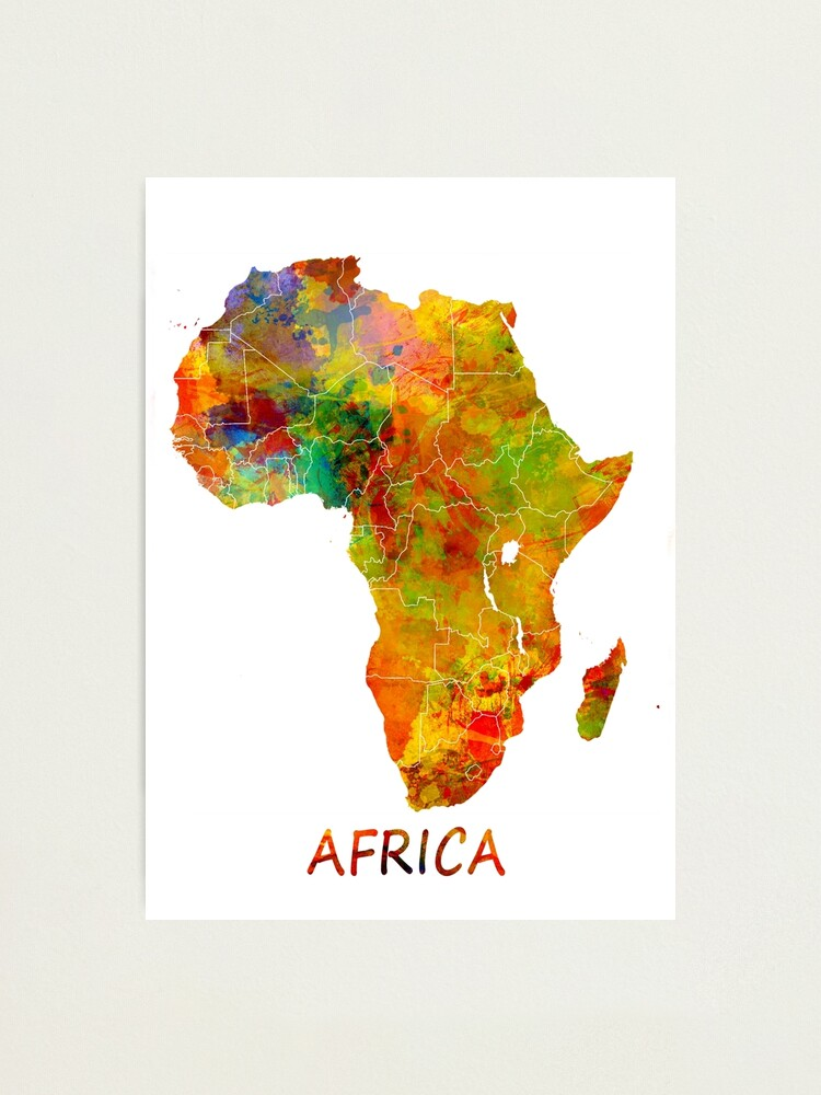 Alternate view of Africa map #africa #map Photographic Print