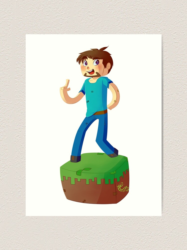 Minecraft Steve Art Print By Riboo Redbubble