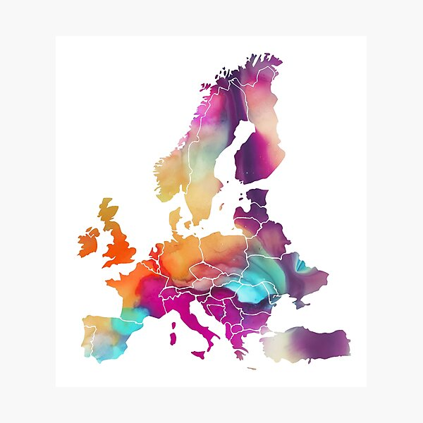 Europe Map colored #europe #map Photographic Print