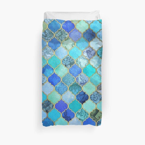 Cobalt Blue, Aqua & Gold Decorative Moroccan Tile Pattern Duvet Cover
