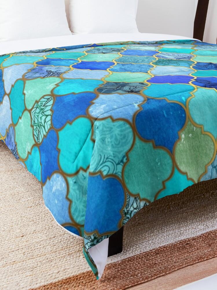 Alternate view of Cobalt Blue, Aqua & Gold Decorative Moroccan Tile Pattern Comforter