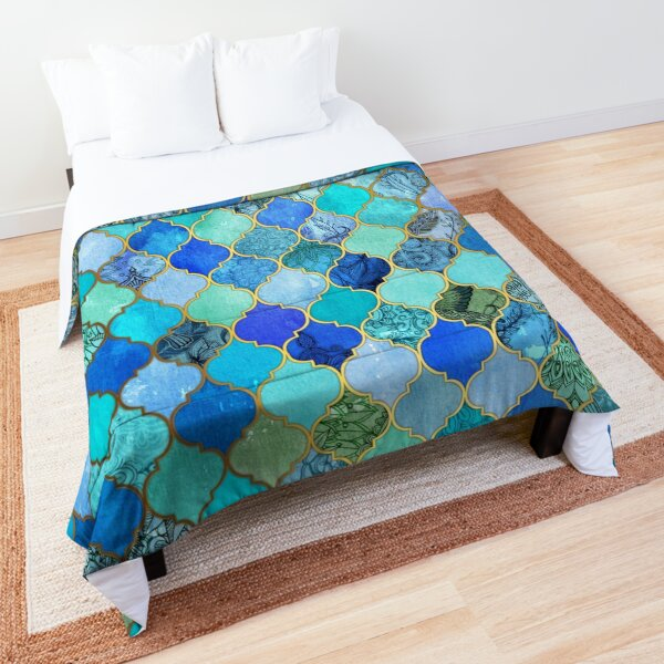 Cobalt Blue, Aqua & Gold Decorative Moroccan Tile Pattern Comforter