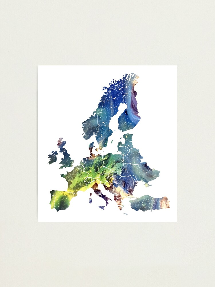 Alternate view of Europe Map cosmic #europe #map Photographic Print