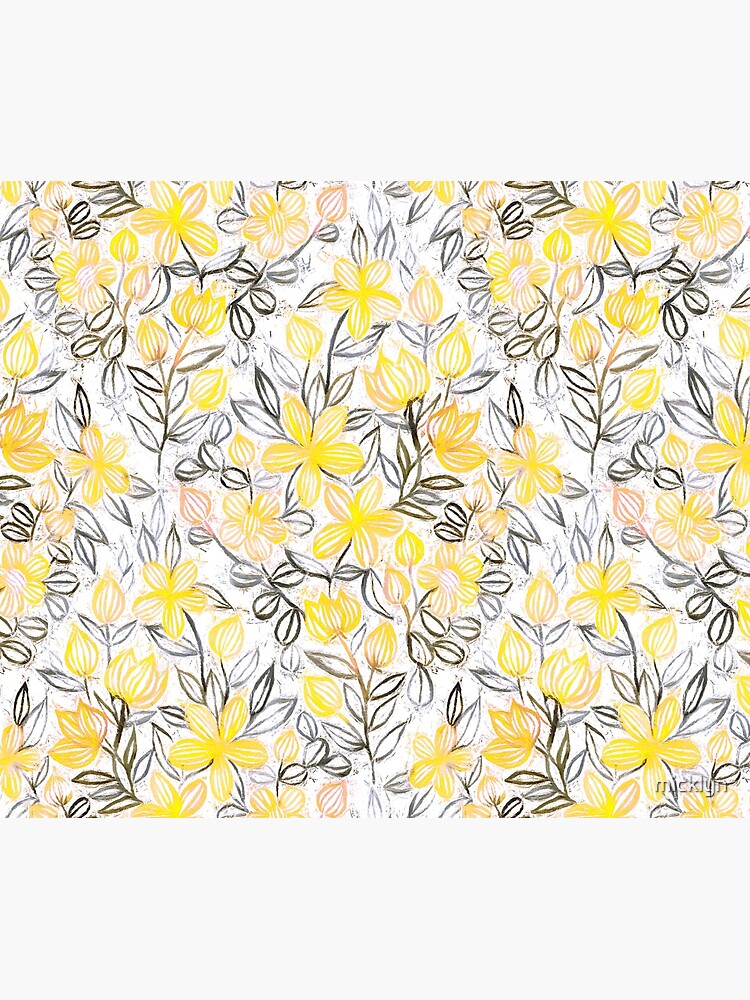 Sunny Yellow Crayon Striped Summer Floral by micklyn