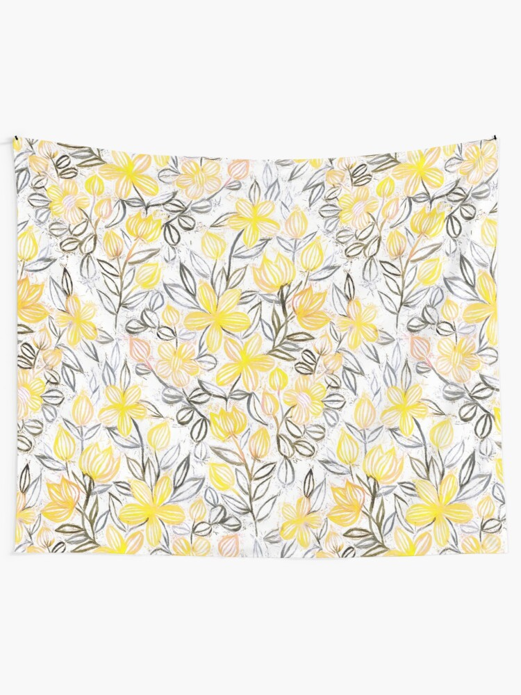 Alternate view of Sunny Yellow Crayon Striped Summer Floral Tapestry