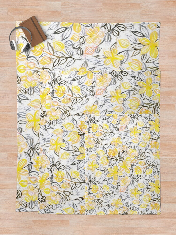 Alternate view of Sunny Yellow Crayon Striped Summer Floral Throw Blanket