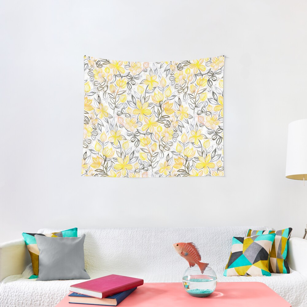 Sunny Yellow Crayon Striped Summer Floral Tapestry