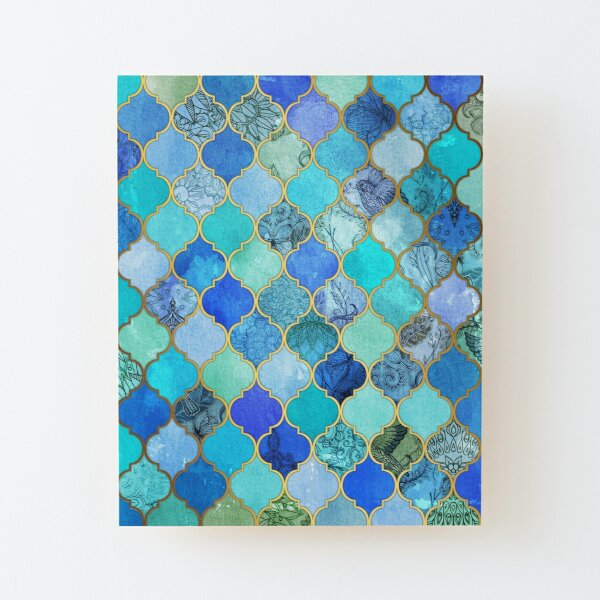 Cobalt Blue, Aqua & Gold Decorative Moroccan Tile Pattern Wood Mounted Print