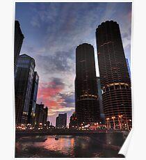Chicago River Sunset 003 Poster