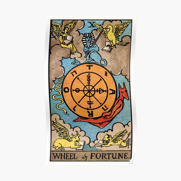 X. Wheel of Fortune Tarot Card Poster