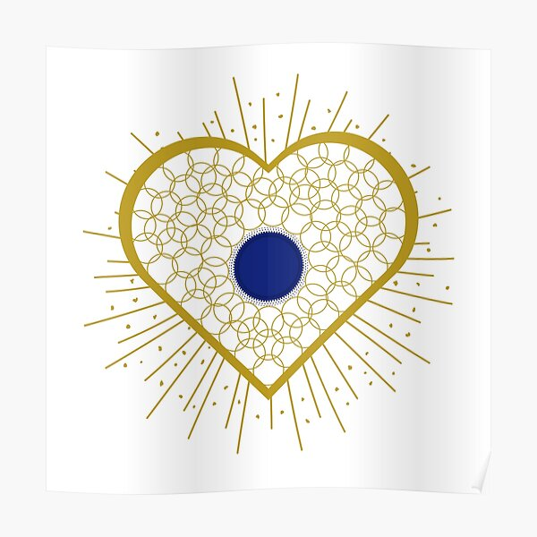 Jewellery heart with blue centre Poster