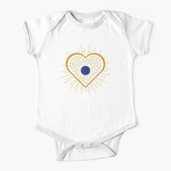 Jewellery heart with blue centre Short Sleeve Baby One-Piece