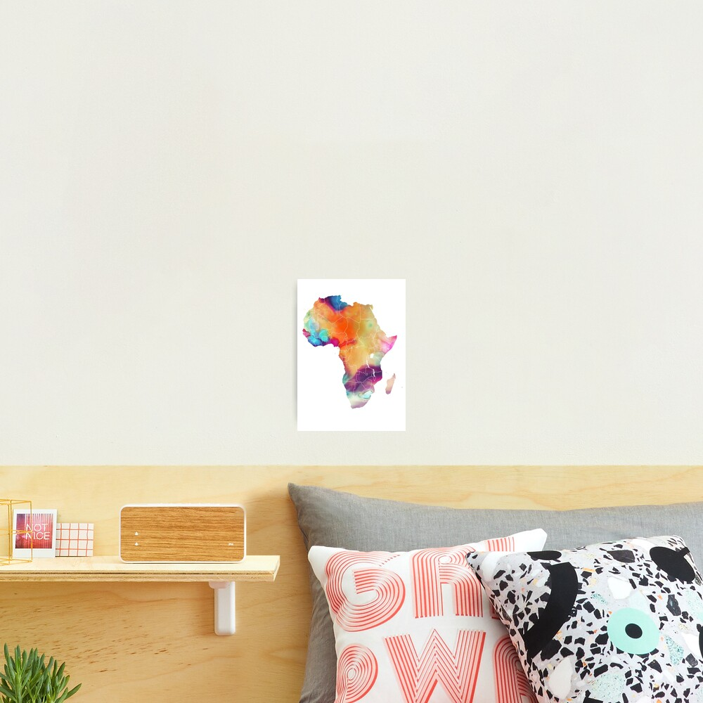 Africa map 7 watercolor #africa #map Photographic Print