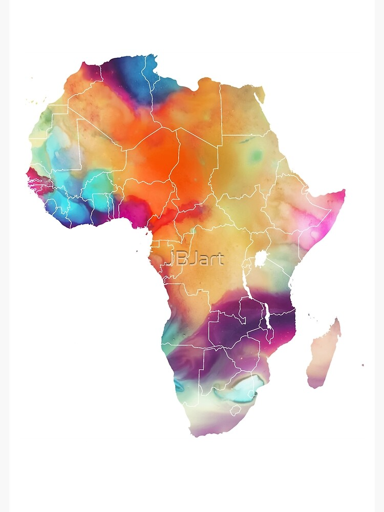 Africa map 7 watercolor #africa #map by JBJart
