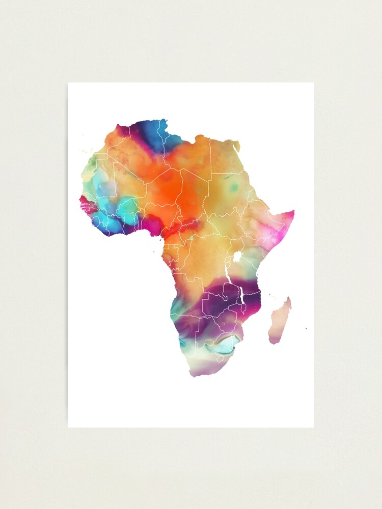 Alternate view of Africa map 7 watercolor #africa #map Photographic Print