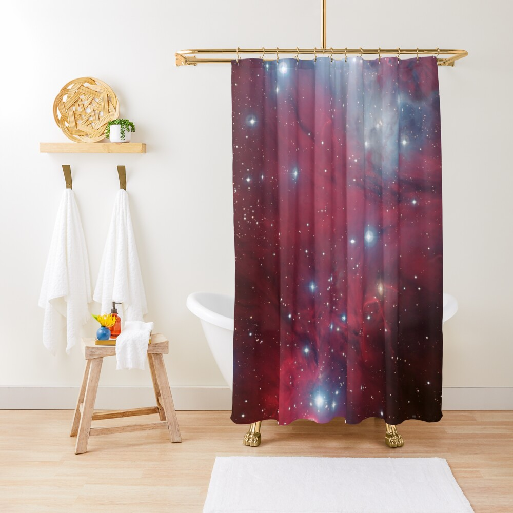 Christmas Tree cluster and NGC 2264 red stars nebula in Monoceros constellation ESO Space Telescope Picture HD HIGH QUALITY Shower Curtain