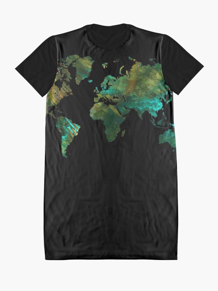 Alternate view of world map #worldmap #map Graphic T-Shirt Dress