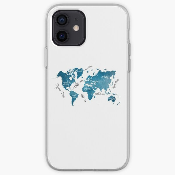 World Map blue iPhone Soft Case
