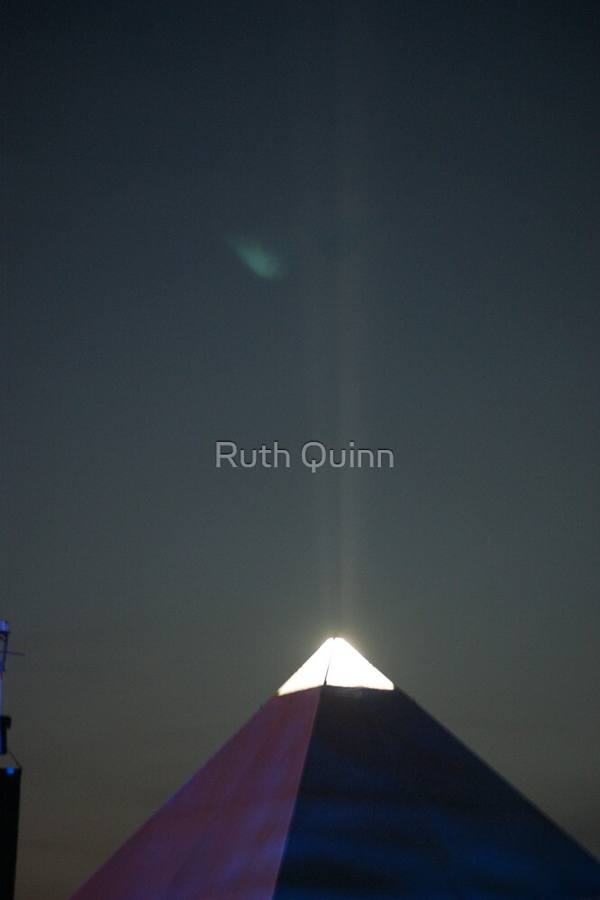 Pyramid Stage at night by Ruth Quinn