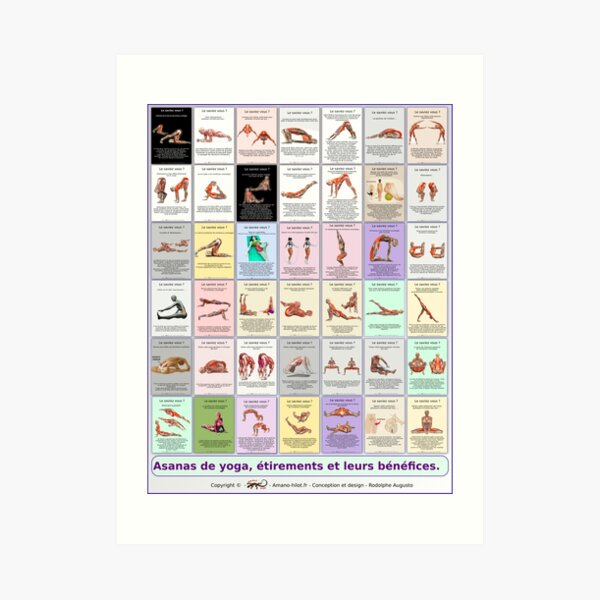 "Board ""Global Asanas"" 42 postures and stretching Art Print"