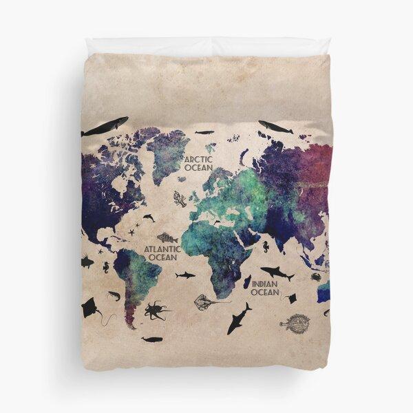 World Map Oceans #map #worldmap Duvet Cover