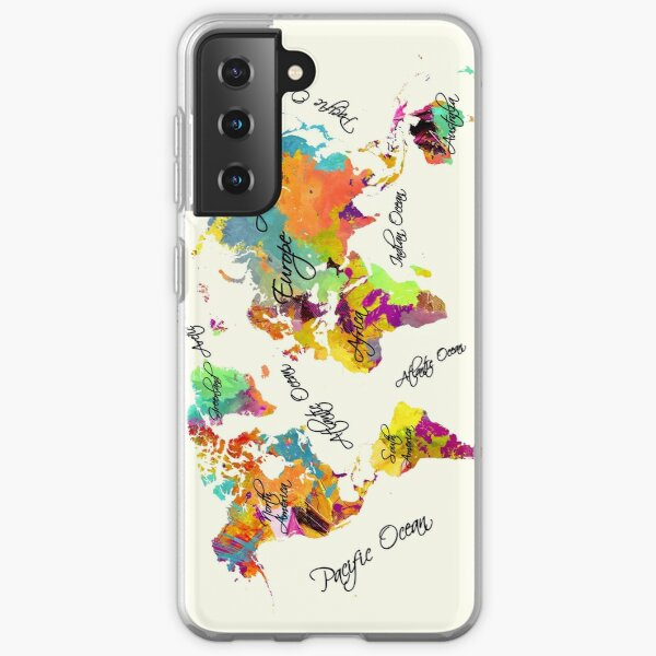 world map text color Samsung Galaxy Soft Case