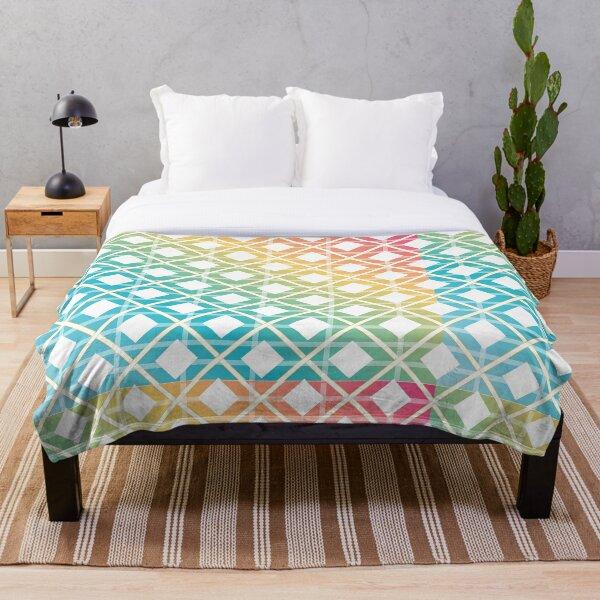 Rainbow colored seamless art Throw Blanket