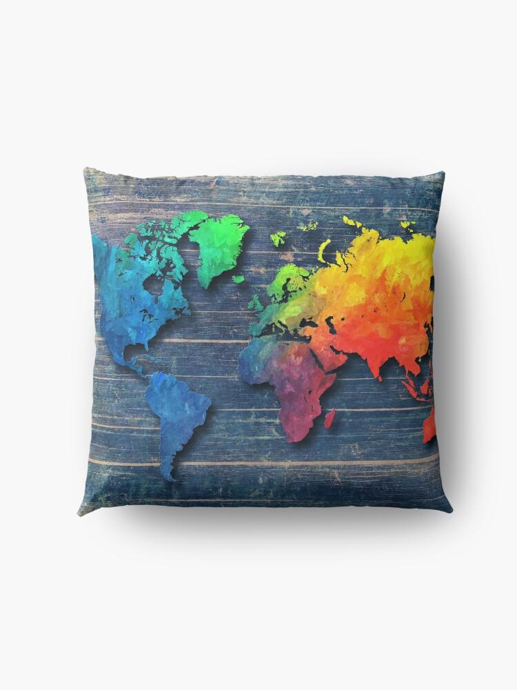 Alternative Ansicht von Weltkarte speziell 8 Bodenkissen
