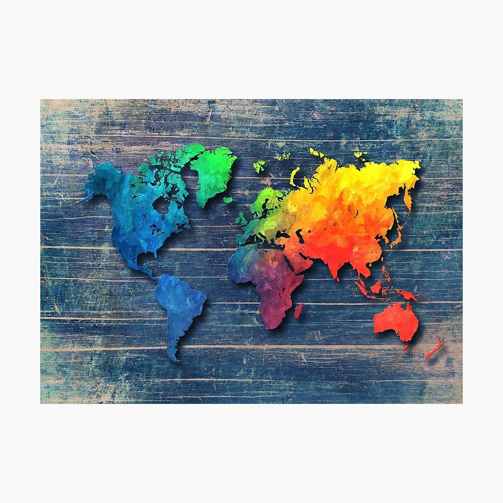 Weltkarte speziell 8 Fotodruck