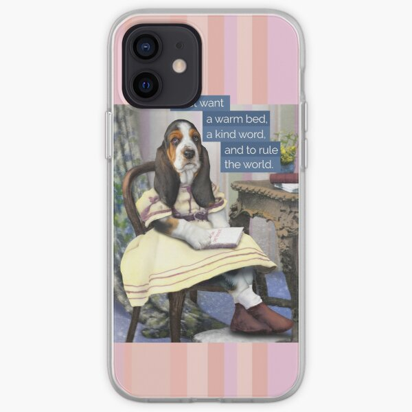 """""""All I want is to rule the world."""" Basset Hound puppy dressed in vintage clothes. iPhone Soft Case"""