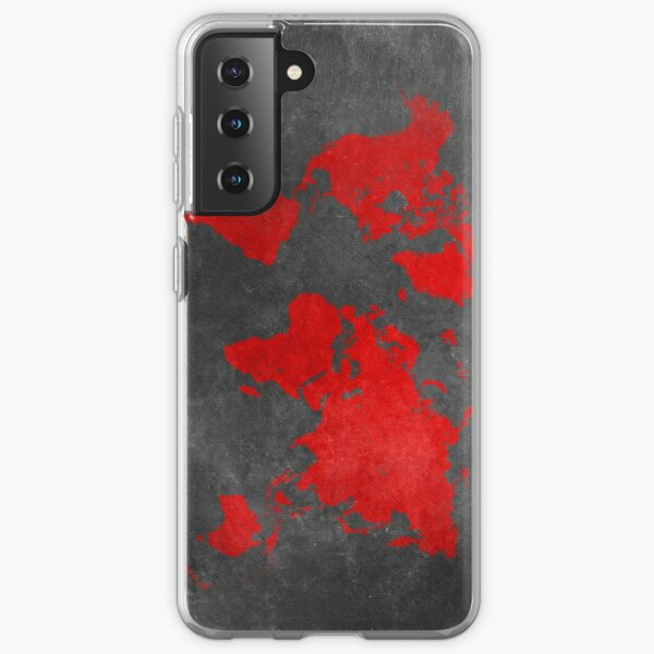 World map black and red Samsung Galaxy Soft Case