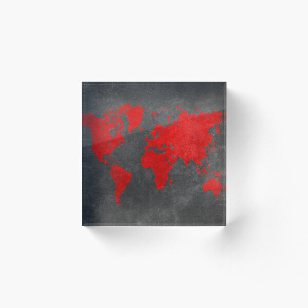 World map black and red Acrylic Block