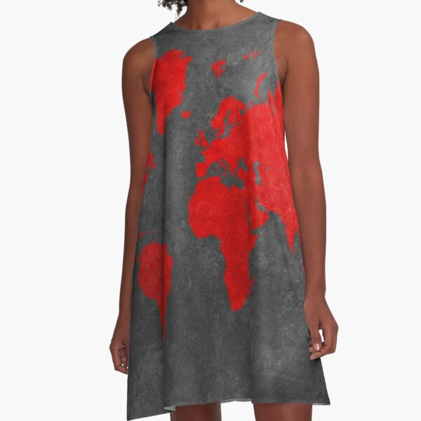 World map black and red A-Line Dress