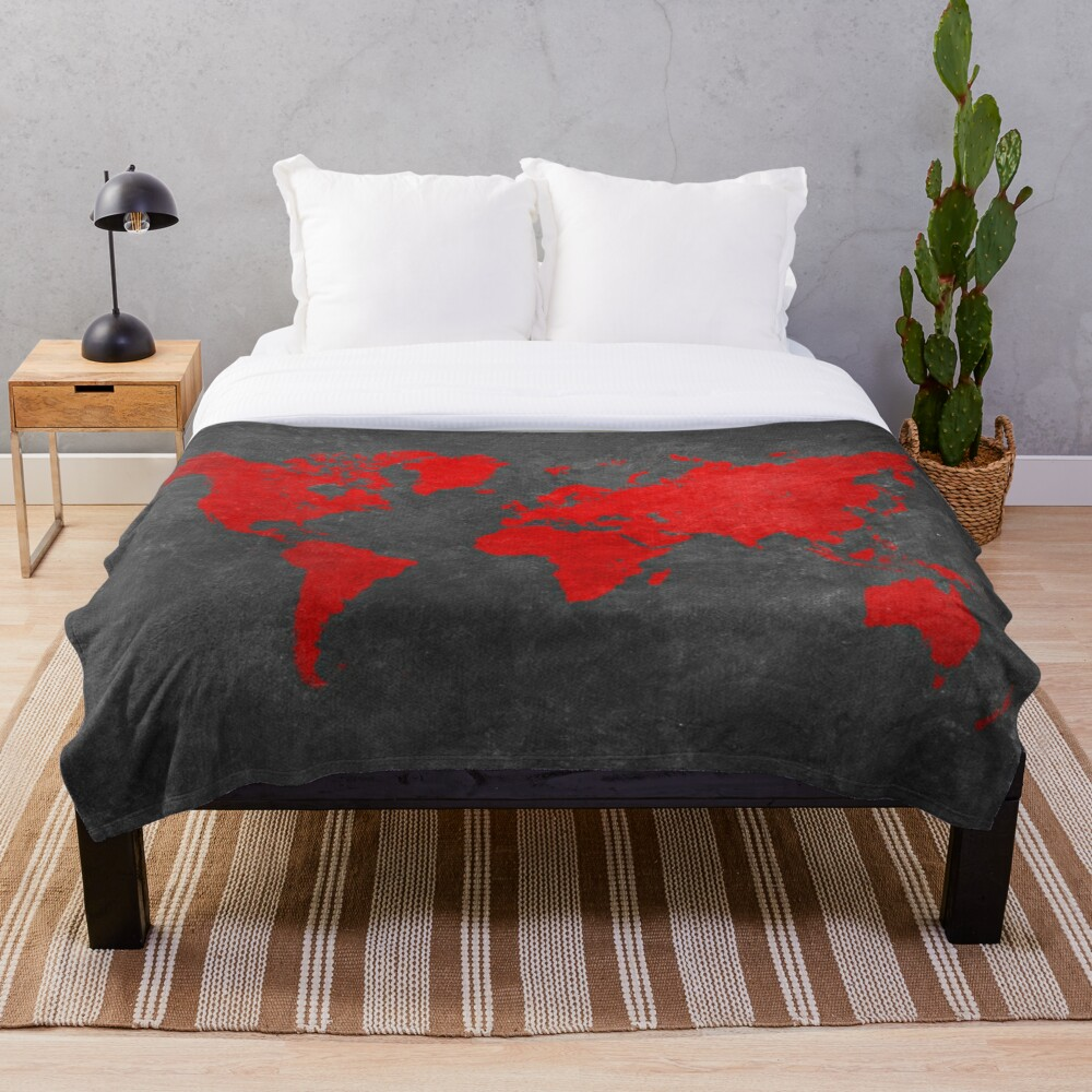 World map black and red Throw Blanket