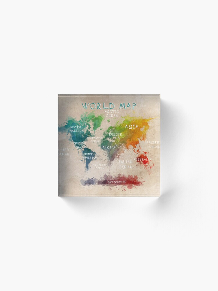 Alternate view of world map 14 Acrylic Block