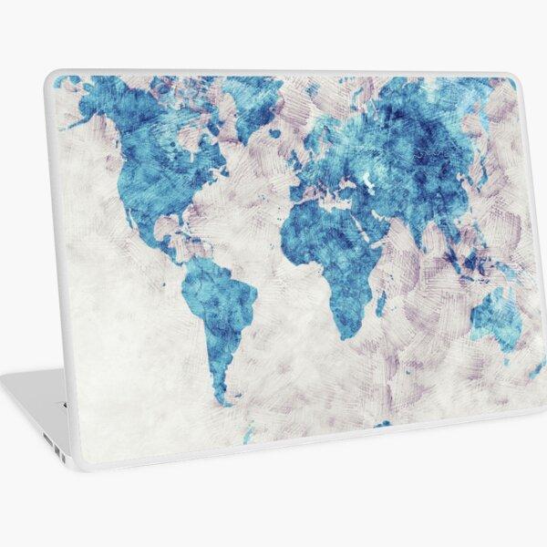 world map 52 blue #map #worldmap Laptop Skin