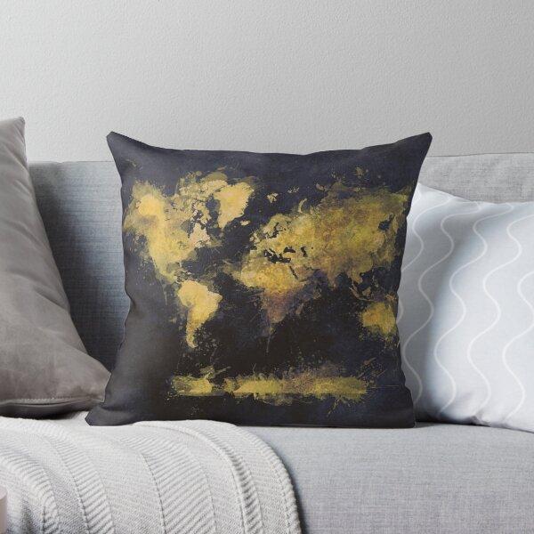 world map 65 yellow #map #worldmap Throw Pillow
