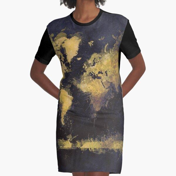 world map 65 yellow #map #worldmap Graphic T-Shirt Dress