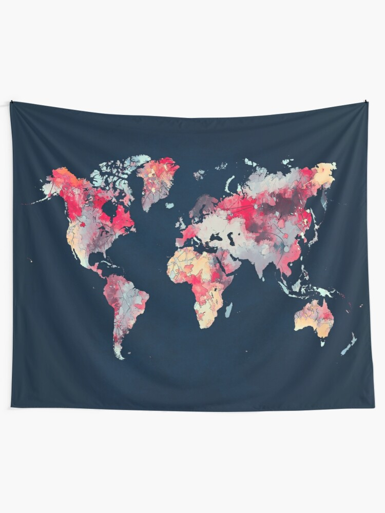 Map69.World Map 69 Map Worldmap Wall Tapestry