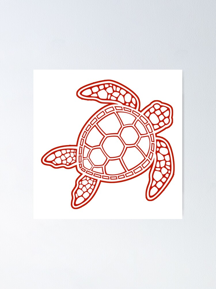Red Turtle Poster By Leilasayan Redbubble