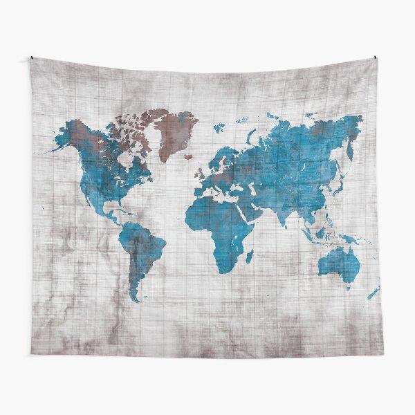 world map 96 blue #worldmap #map  Tapestry