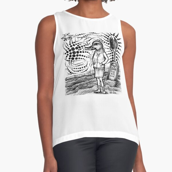 Aliens Attempt To Subdue Duck Girl Sleeveless Top