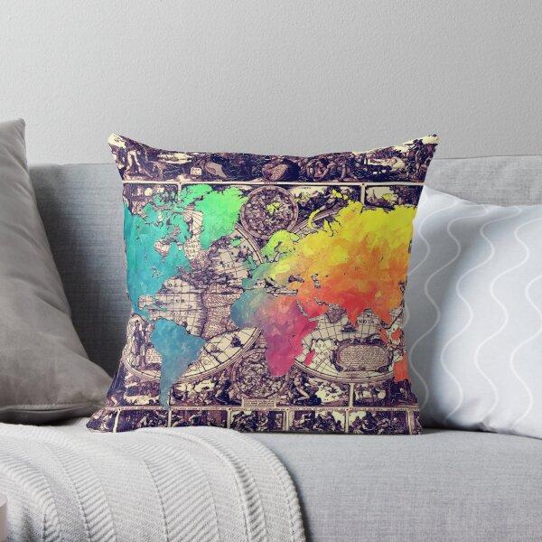 world map 130 #worldmap #map Throw Pillow