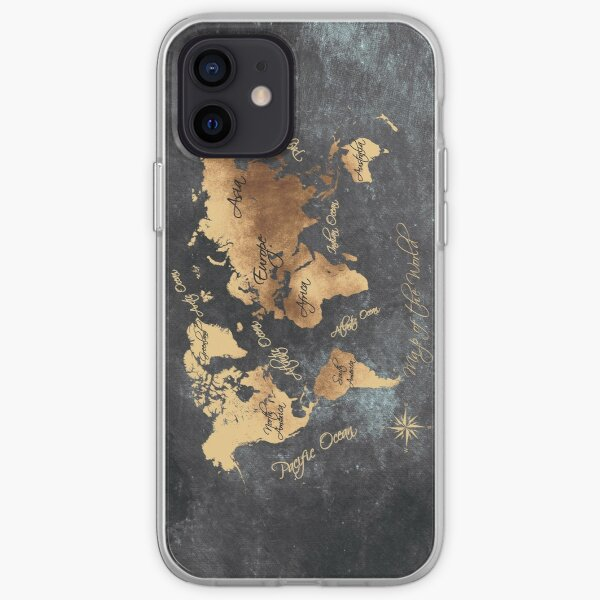 world map 147 gold black #worldmap #map iPhone Soft Case