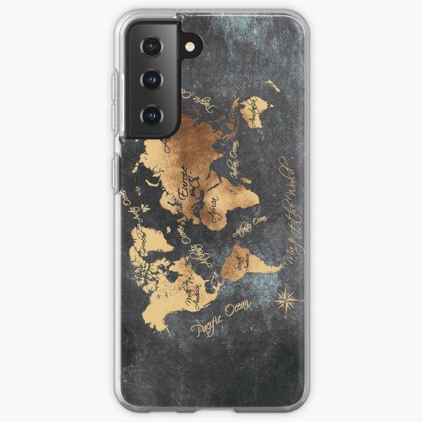 world map 147 gold black #worldmap #map Samsung Galaxy Soft Case