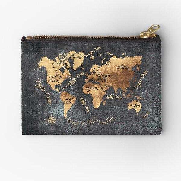 world map 147 gold black #worldmap #map Zipper Pouch