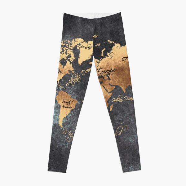 world map 147 gold black #worldmap #map Leggings