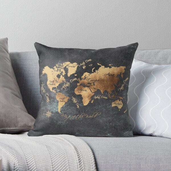 world map 147 gold black #worldmap #map Throw Pillow